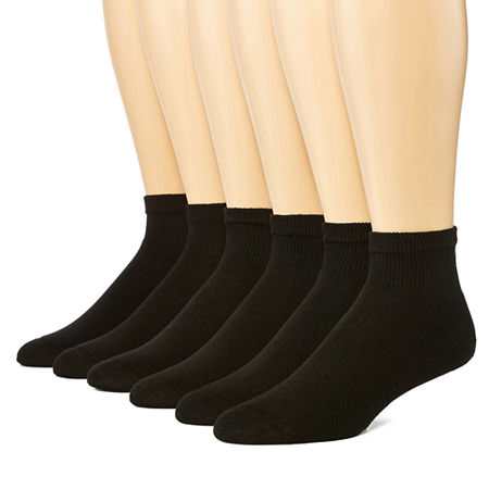 Hanes 6-pk. ComfortBlend Mens Quarter Socks - Extended Size, 13-15 , Black