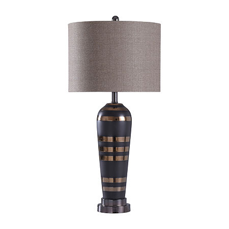 Stylecraft 14.5 W Black & Chrome Steel Table Lamp, One Size , Black