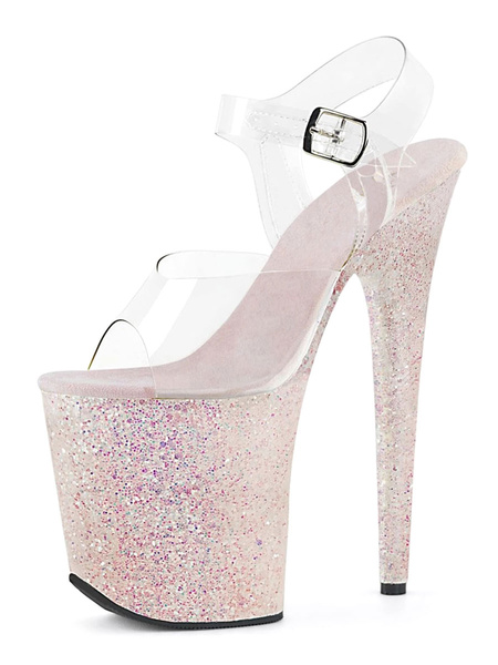 Milanoo Sexy Sandals For Woman Pink PU Leather Peep Toe Sequin Transparent Sexy Sandals