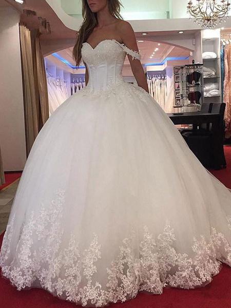 Milanoo Wedding Dress Princess Silhouette Sweetheart Neck Sleeveless Natural Waist Applique Tulle Bridal Dresses