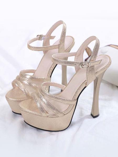 Milanoo High Heels Open Toe Stiletto Heel Chic Black Platform Sexy Sandals