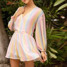 Wrap Front Knotted Cuff Rainbow Striped Smock Dress
