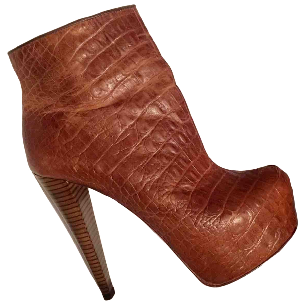 Alice & Olivia \N Brown Exotic leathers Boots for Women 38 EU