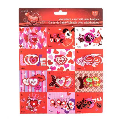 Carte De Saint-Valentin avec Mini Badges, 12Pcs/Paquet, 1 Style Randomisé Par Paquet