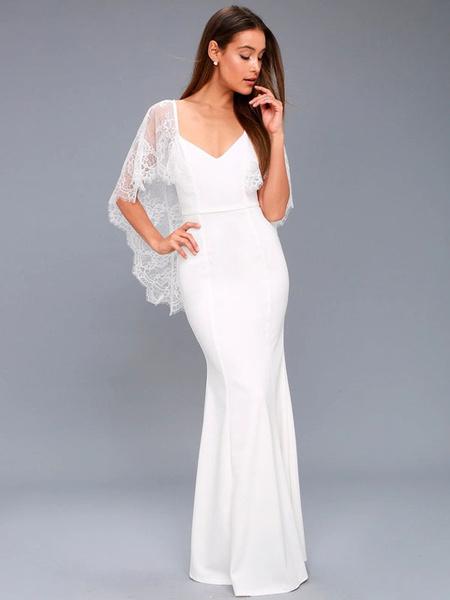 Milanoo White Maxi Dress Women Party Dress Cape Sleeve Lace V Neck Backless Long Evening Dress