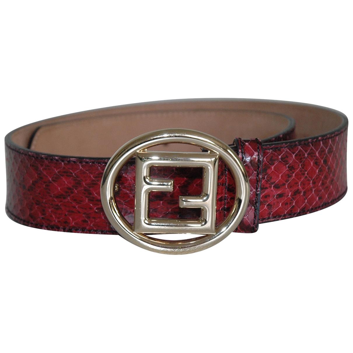 Fendi \N Red Python belt for Women 80 cm