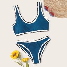 Whipstitch Contrast Binding Bikini Swimsuit