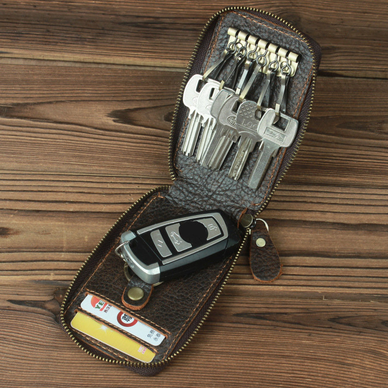 Genuine Leather Retro Totem Car Key Case Business Carry Key Case For Men