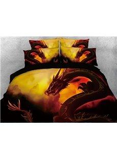 Powerful Dragon Golden Digital Printed 4-Piece 3D Bedding Sets/Duvet Covers