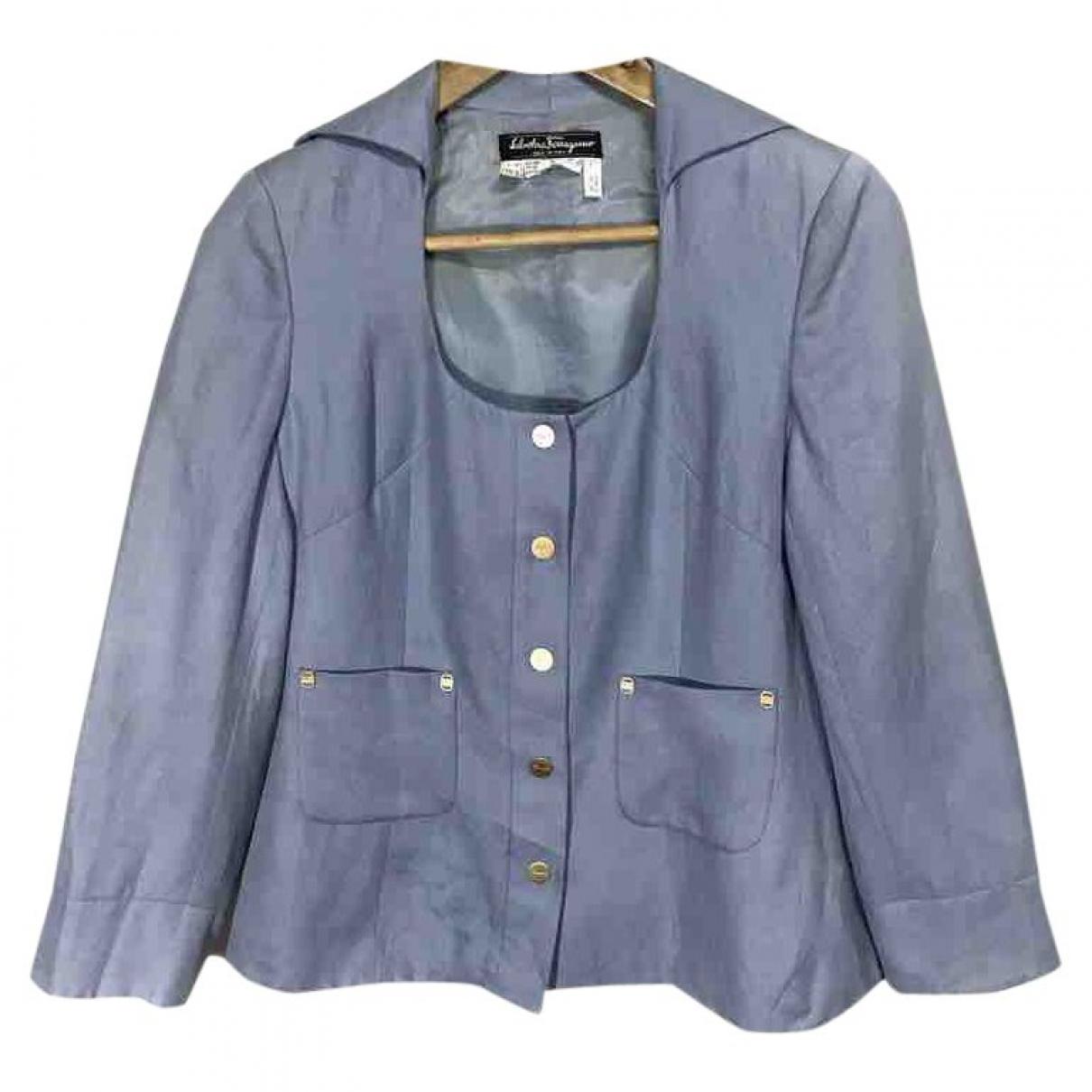 Salvatore Ferragamo - Veste   pour femme en lin - bleu