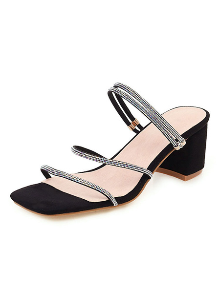 Milanoo Womens Apricot Strappy Sandals Square Open Toe Block Heel Plus Size Shoes