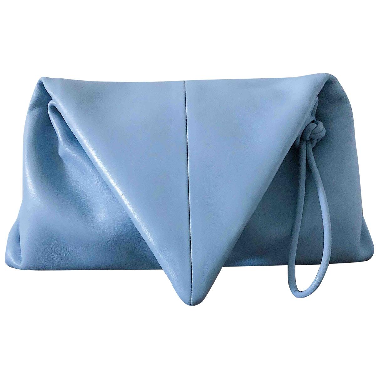 Bottega Veneta Triangle Blue Leather Clutch bag for Women \N