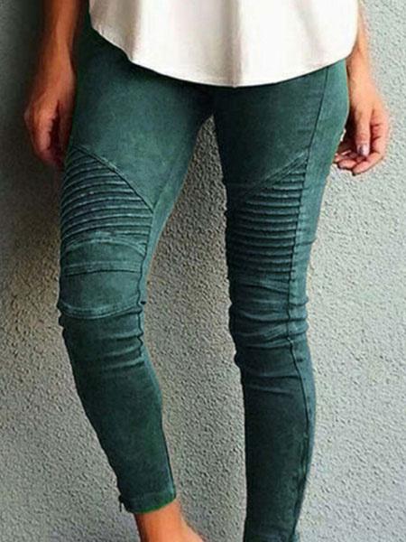Milanoo Women Skinny Pants With Pockets Natural Waist Leggings