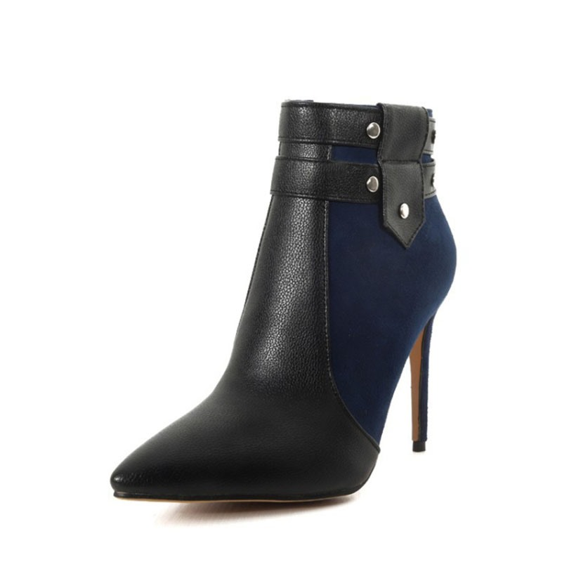 Ericdress Color Block Side Pointed Toe Zipper Boots