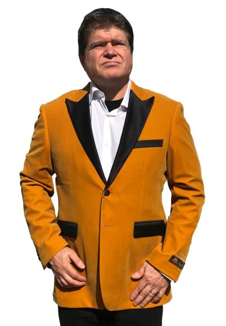 Mens Cheap Gold Velvet Velour Clear Big/Tall Blazers Blazer/Sport Coat