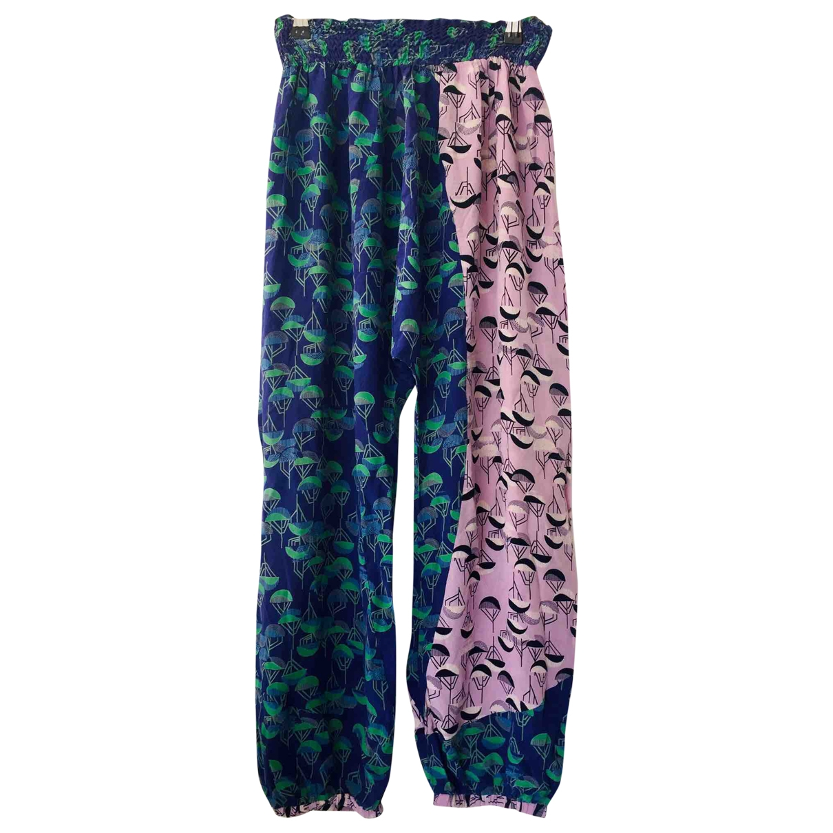 Non Sign?? / Unsigned Hippie Chic Multicolour Silk Trousers for Women 34 FR