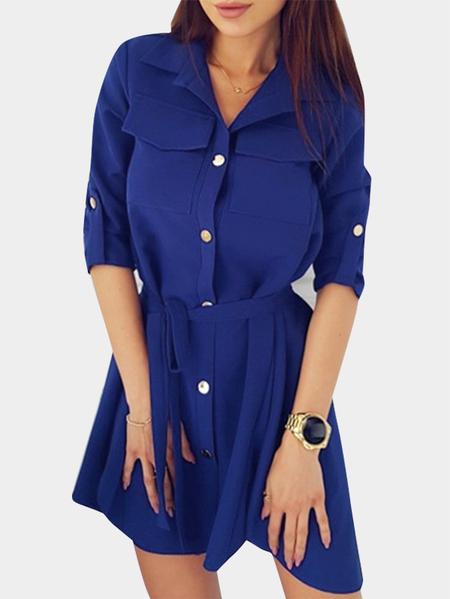 Yoins Blue Collar Lace-up Design Single Breasted Button Long Sleeves Shirt Dress