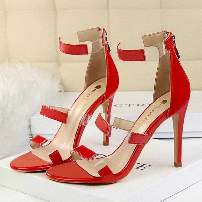 Ericdress PU Heel Covering Zipper Women's Sandals
