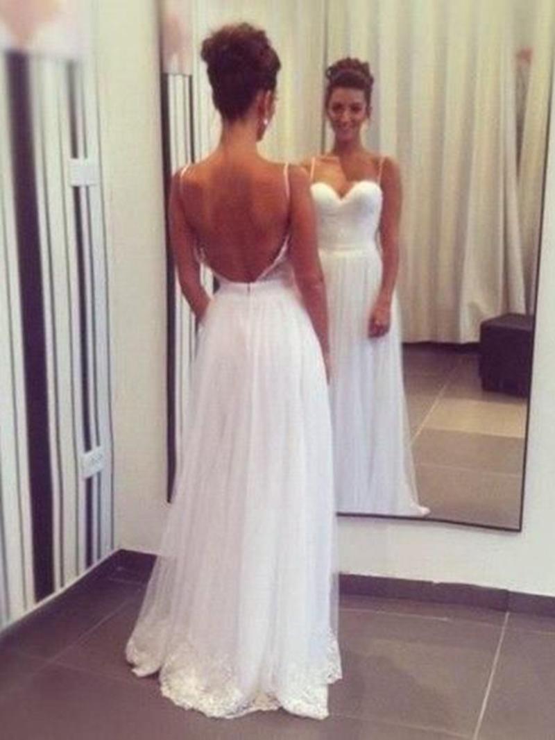 Ericdress Spaghetti Straps Backless Beach Wedding Dress