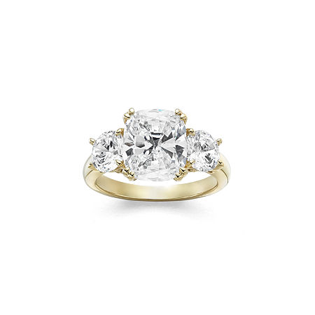 DiamonArt Womens 5 3/4 CT. T.W. White Cubic Zirconia 14K Gold Over Silver 3-Stone Engagement Ring, 8 , No Color Family