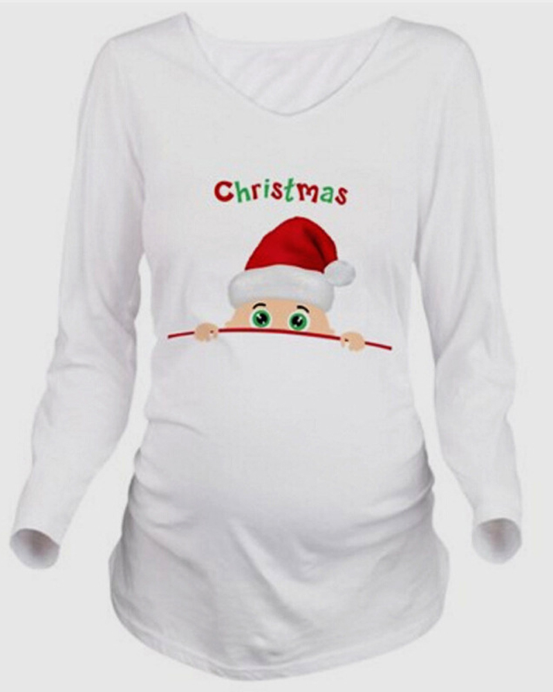 Casual Style Print Loose Model Nylon Christmas Maternity T-Shirt
