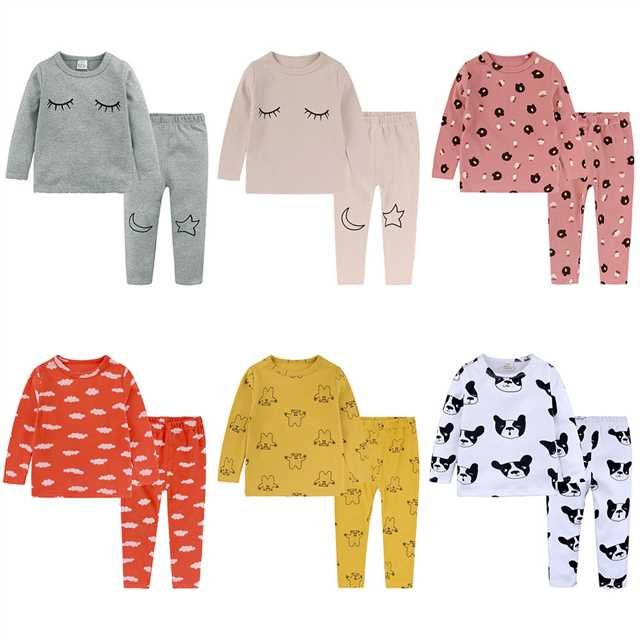 Baby Boys Girls Sleepwear Long Sleeve Leisure Wear Kids Pajamas Set Girl Children Clothes Sets