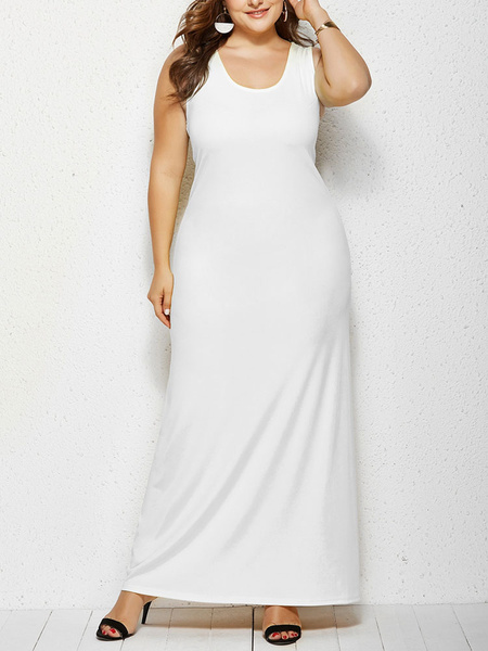 Milanoo Plus Size Maxi Dress For Women Sleeveless Women Dresses