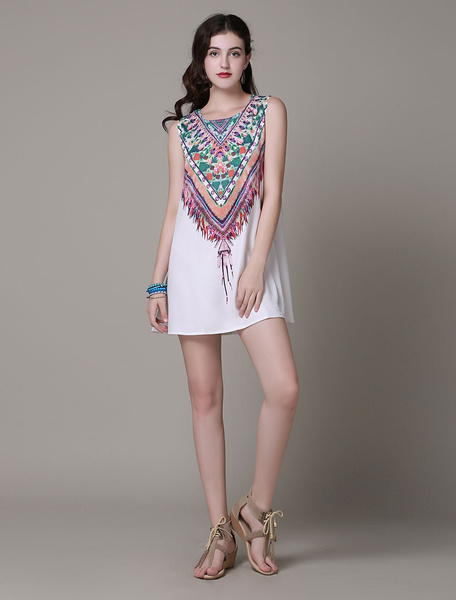 Milanoo Boho Summer Dresses 2020 Printed Sleeveless Women Short Shift Dress