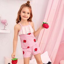 Toddler Girls Contrast Lace Strawberry Print Cami PJ Set
