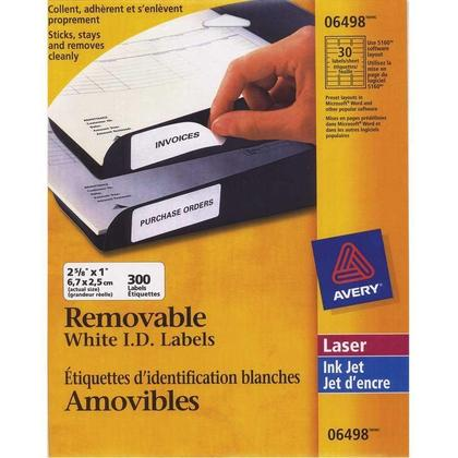 Avery@ Removable I.D. Laser/Inkjet Labels - 2-5/8�x 1� 300/Pack, White 217885