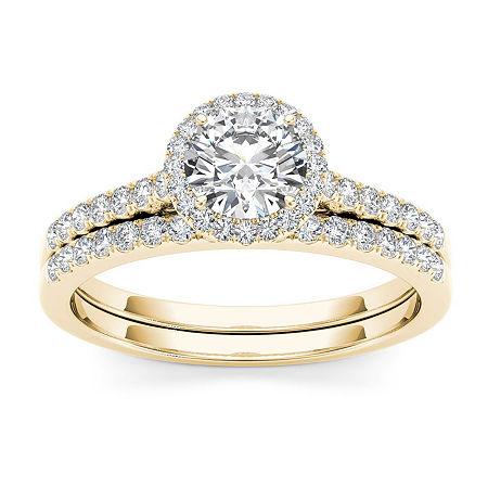 Womens 1 CT. T.W. Genuine White Diamond 14K Gold Bridal Set, 7 1/2 , No Color Family