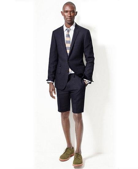 Men's Navy Blue Summer Business Suits Shorts Pants Set (Sport Coat)