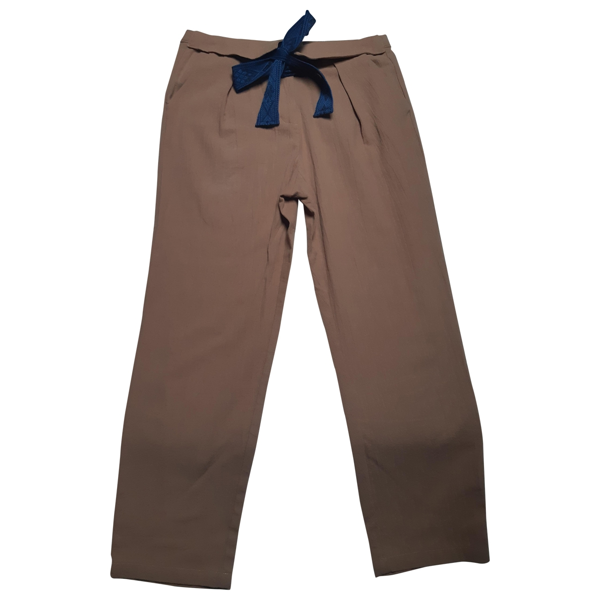 Non Signé / Unsigned \N Beige Cotton Trousers for Women 38 FR