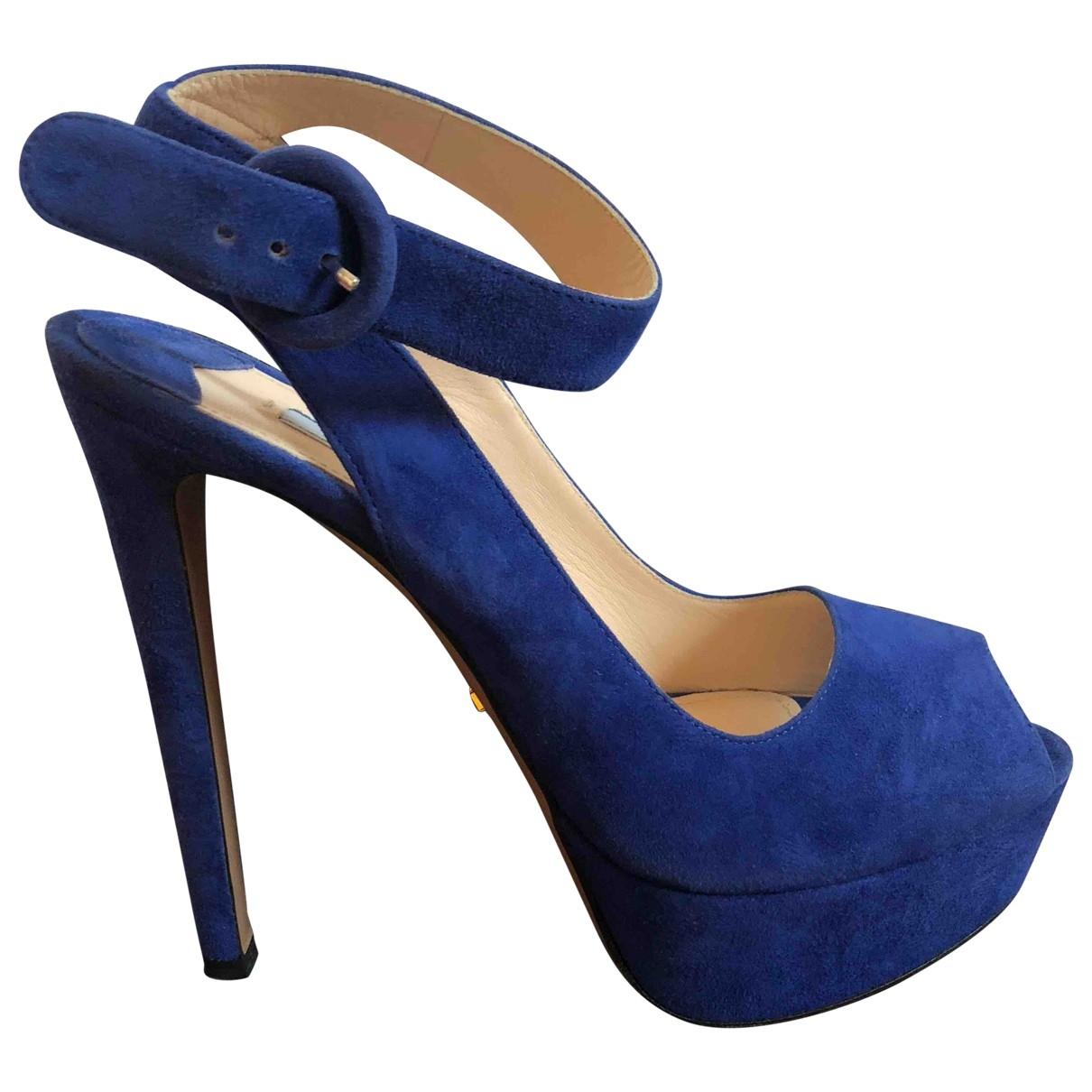 Prada \N Blue Suede Sandals for Women 39 EU