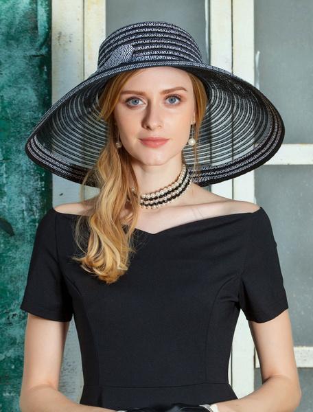 Milanoo Black Vintage Hat Women Retro Cap Wide Brim Costume Hair Accessories