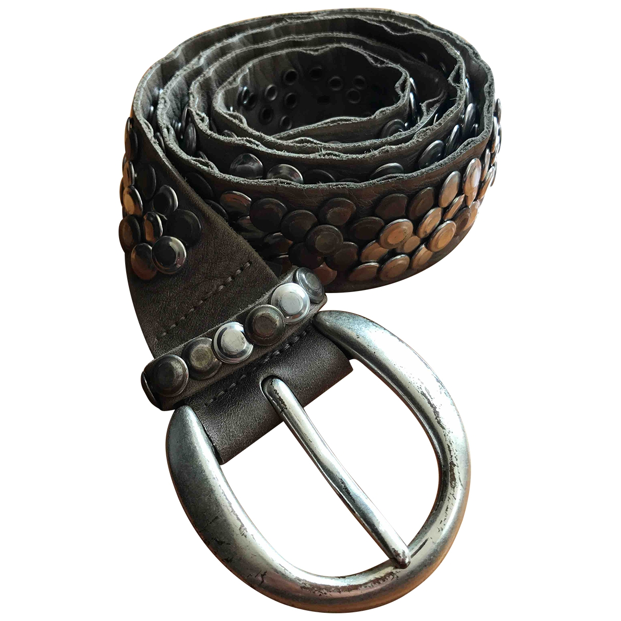 Non Signé / Unsigned \N Grey Leather belt for Women 90 cm