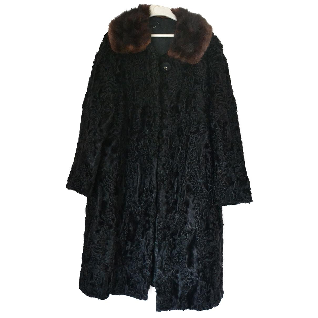 Non Signé / Unsigned Oversize Black Astrakhan coat for Women 40 FR