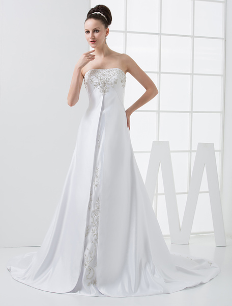 Milanoo White A-line Empire Waist Strapless Beaded Satin Wedding Dress