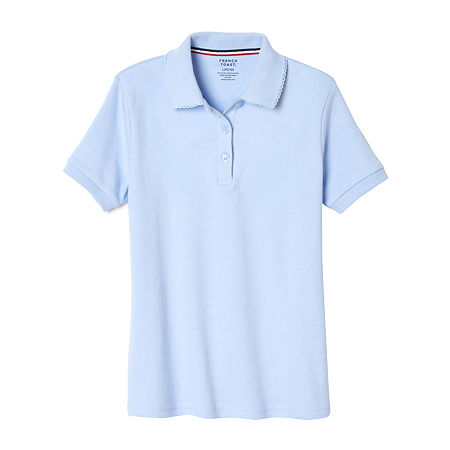 French Toast Big Girls Short Sleeve Polo Shirt, Large , Blue