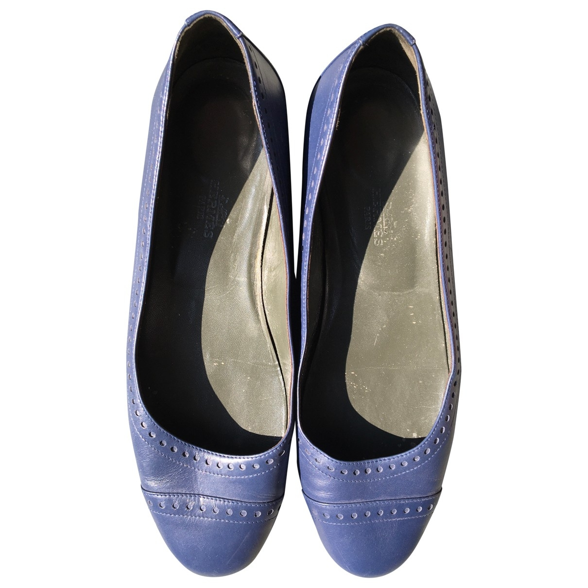 Hermès \N Blue Leather Ballet flats for Women 39 EU