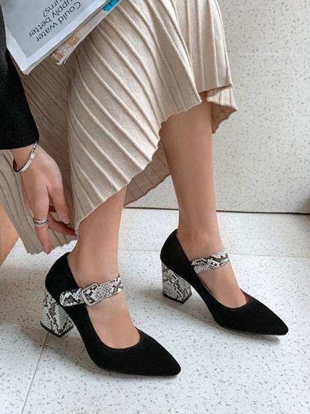 Milanoo Women High Heels Black Pointed Toe Marry Jane Slip-On Buckle Detail Chunky Heel Pumps