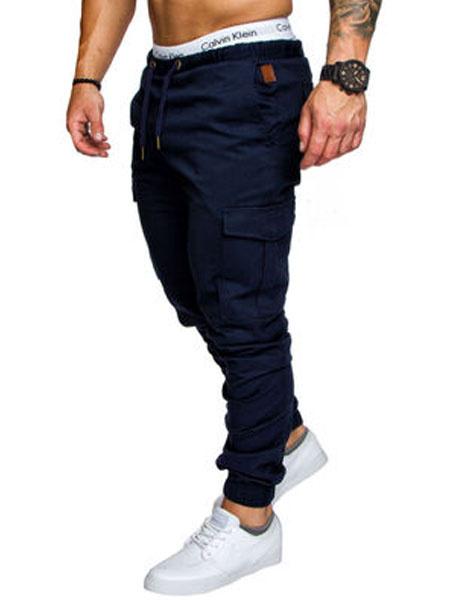 Milanoo Men Cargo Pant Pocket Drawstring Tapered Jogger