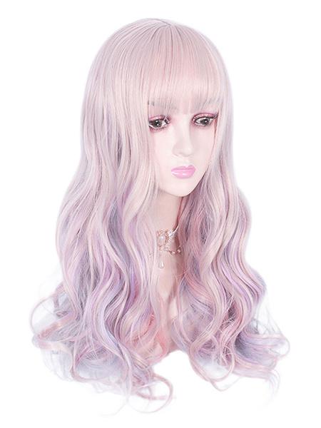 Milanoo Sweet Lolita Wigs Ombre Fiber Lavender Lolita Accessories