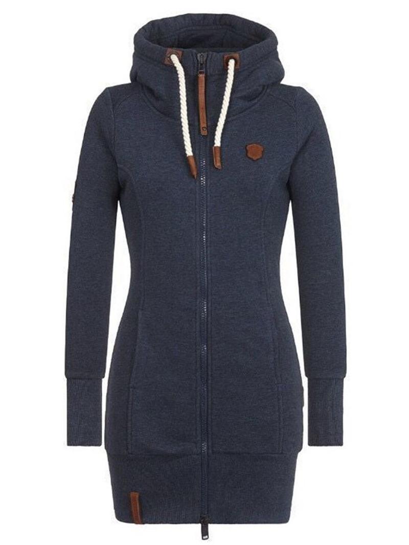 Ericdress Zipper Regular Long Sleeve Mid-Length Women's Hoodie