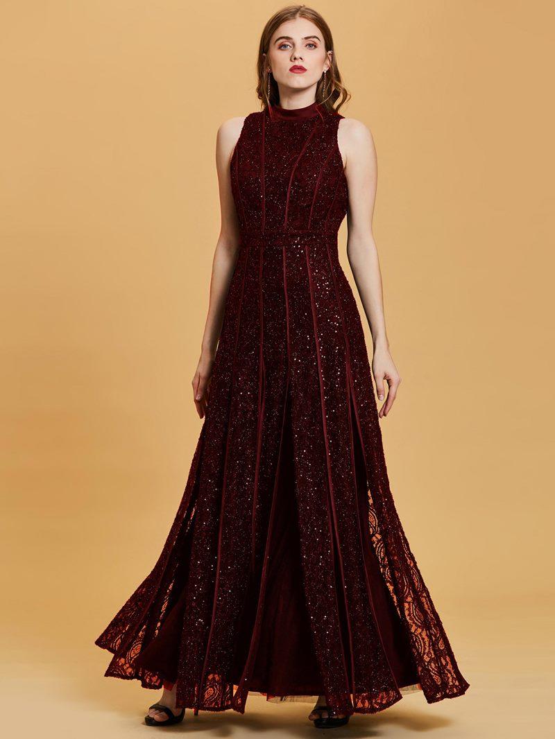 Ericdress Scoop Neck Sequins A Line Black Evening Dress