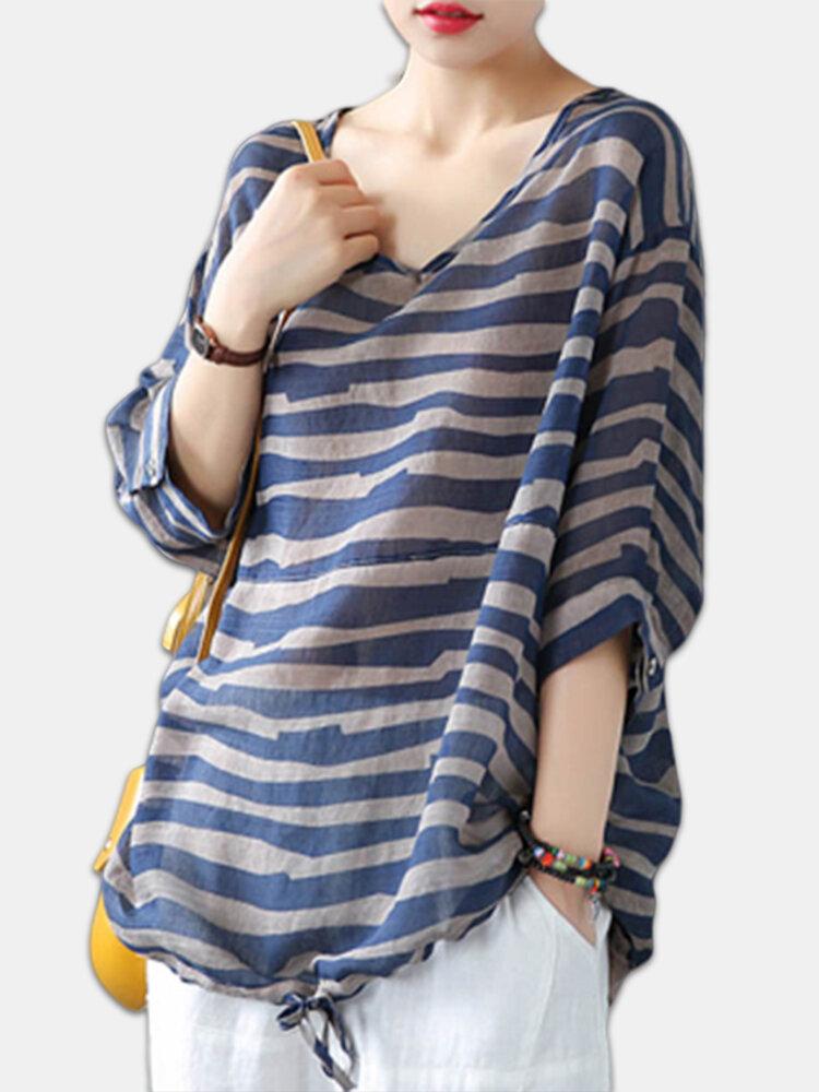 Zebra Print Drawstring Long Sleeve Plus Size Loose Blouse