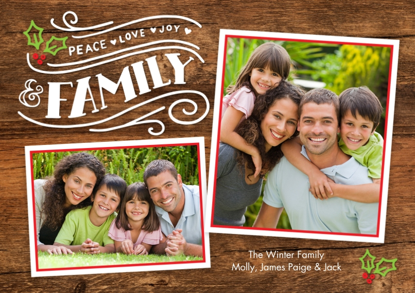 Holiday Photo Cards 5x7 Cards, Standard Cardstock 85lb, Card & Stationery -Holiday Family Rustic