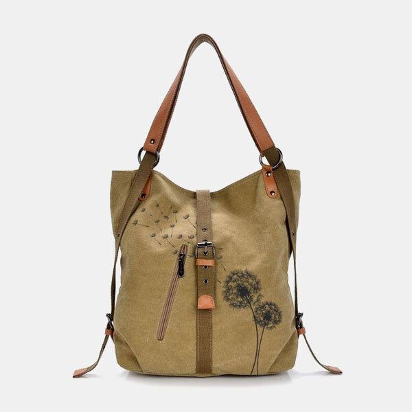 Women Floral Anti theft Multi-Carry Canvas Shoulder Bag Backpack