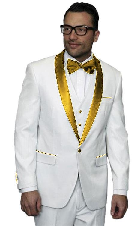 Mens Alberto Nardoni White and Gold Tuxedo Vested Wedding ~ Prom Suit