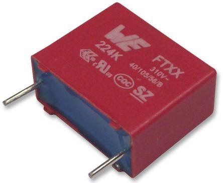 Wurth Elektronik 47nF Polypropylene Capacitor PP 310V ac ±10% Tolerance Through Hole WCAP-FTXX Series (10)